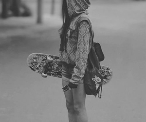 black and white and skateboard image