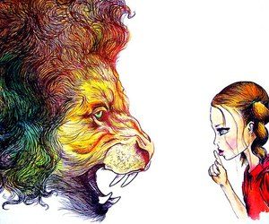 drawing, lion, and girl image