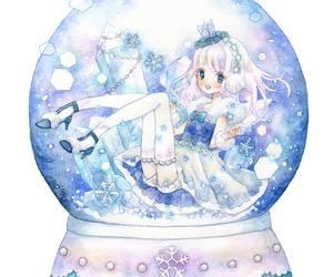 anime girl, anime snow globe, and anime crown image