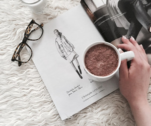 coffee, magazine, and glasses image