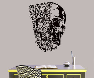 home decor, murals, and skull image