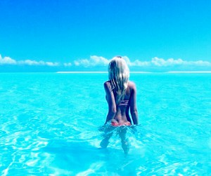 beach, blond, and blue image