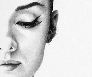 art, drawing, and audrey hepburn image