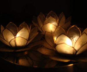 candles, dark, and flowers image