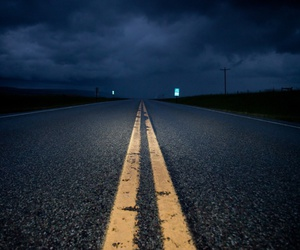 night, road, and dark image