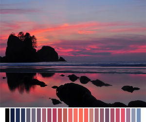 colors, sunset, and sea image