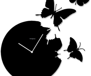 black, butterflies, and clock image
