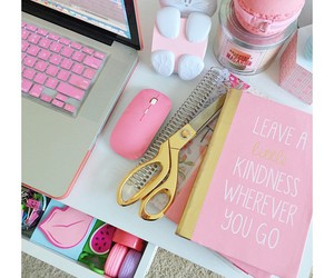 pink, desk, and notebook image