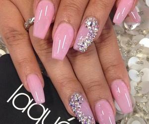 nails, pink, and diamonds image