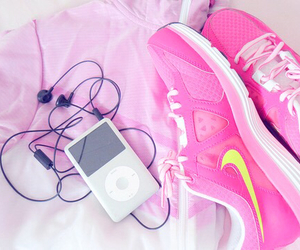 pink, nike, and music image
