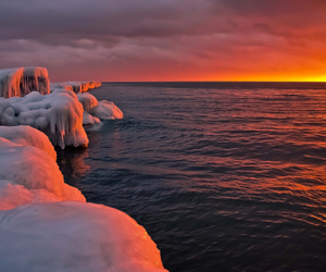nature, sunset, and ice image