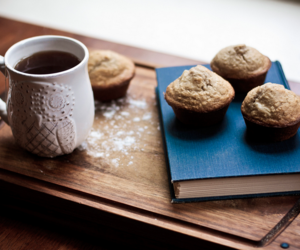 book, coffee, and muffin image