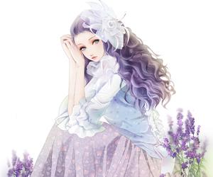 anime, girl, and purple image