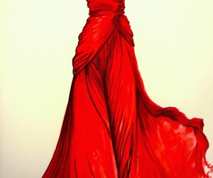 dress, red, and drawing image