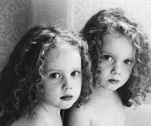 adorable, black and white, and identical twins image
