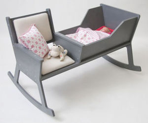 baby, crib, and rocking chair image
