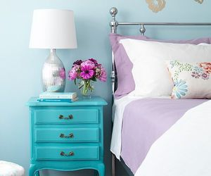 bedroom, interior, and blue image