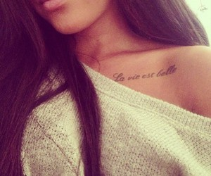 tattoo, hair, and lips image
