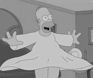 bart, black and white, and happy image