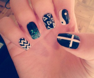 black, nails, and cross image