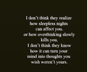 feeling, sleepless, and thoughts image
