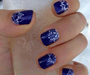 blue nails, manicure, and winter image