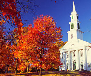 autumn, church, and fall image