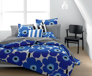 bedroom, blue, and deco image