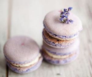 food, macaroons, and lavender image