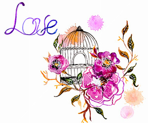 bird, cage, and floral image