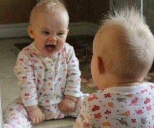 baby, funny, and mirror image