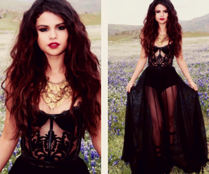selena gomez, dress, and flowers image