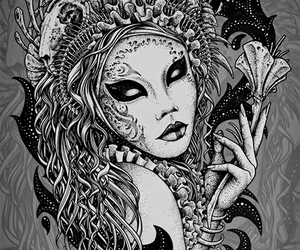 black and white, varnuak, and dark art image