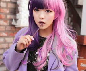 hair, half, and pink and purple image