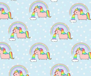 unicorn, rainbow, and wallpaper image