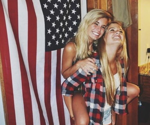 american flag, college, and blonde image