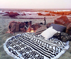 beach, sunset, and date image