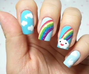 nails, rainbow, and clouds image