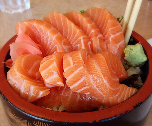 food, salmon, and yum image