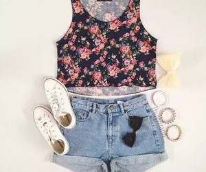 clothes, floral, and hair image