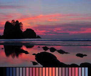 colors, sea, and sunset image