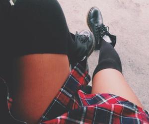doc martens, flannel, and knee high socks image