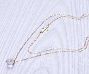 gold necklace, stone necklace, and quartz necklace image