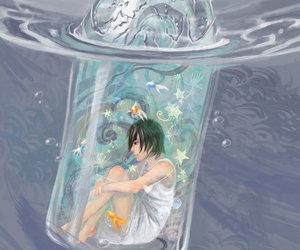 anime girl, illustration, and bottle image
