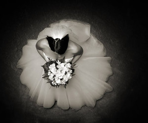 black & white and bride image