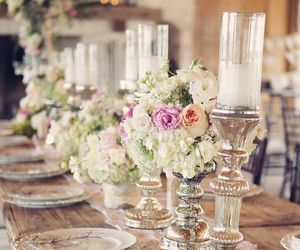flowers, candles, and wedding image