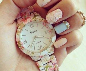 flower, nail art, and watch image