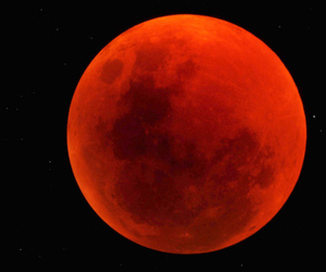 beautiful, red, and red moon image