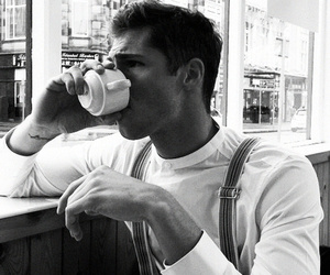 boy, coffee, and black and white image