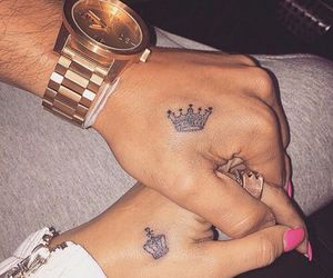 couple, crown, and hand image